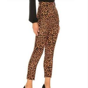 Lovers + Friends Leopard Print Cain High Rise Slim Pants
